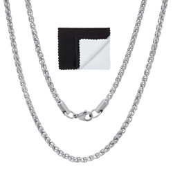 3mm High-Polished Stainless Steel Braided Wheat Chain Necklace + Gift Box