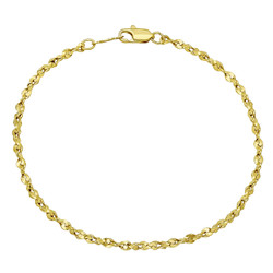 2.7mm 0.25 mils (6 microns) 14k Yellow Gold Plated Round Singapore Chain Link Bracelet