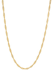 Women's 2.5mm 24k Yellow Gold Plated Twisted Singapore Chain Necklace