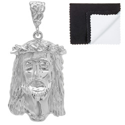 Rhodium Plated Jesus Piece Pendant, 49mm x 27mm (⅞ inches' x ')