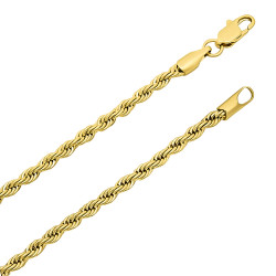2.8mm Polished 14k Yellow Gold Plated Twisted Rope Chain Necklace + Gift Box