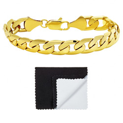 Men's 9.5mm 0.25 mils (6 microns) 14k Yellow Gold Plated Beveled Curb Chain Necklace, 7'-36 + Jewelry Box, Cloth, & Bag
