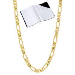 3mm 24k Yellow Gold Plated Flat Figaro Chain Necklace + Gift Box