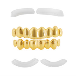 Polished 0.16 mils (4 microns) Gold Plated Silver Top & Bottom Grillz Set
