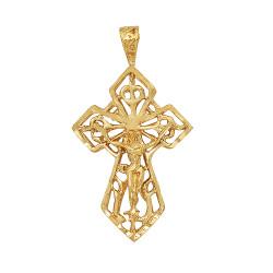 Large 27mm x 40mm 14k Gold Plated Ornate Irish Celtic Crucifix Pendant,