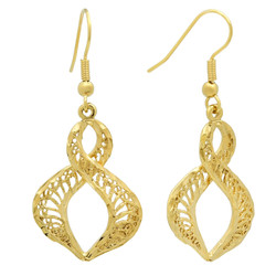 Gold Plated Twisted Flame Shaped Filigree Drop Earrings + Microfiber