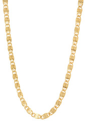 5mm 14k Yellow Gold Plated Flat Fancy Link Chain Necklace