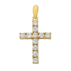 Gold Plated Small Cross Pendant of Round Brilliant Cut CZs + Microfiber