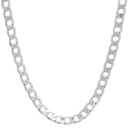 4mm Rhodium Plated Beveled Curb Chain Necklace