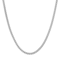 2mm High-Polished Stainless Steel Square Box Chain Necklace + Gift Box