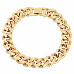 12.4mm 0.25 mils (6 microns) 14k Yellow Gold Plated Curb Chain Link Bracelet, 7'-9 + Jewelry Cloth & Pouch