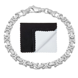 Men's 6.1mm High-Polished .925 Sterling Silver Flat Byzantine Chain Bracelet, 9'10 + Jewelry Box, Cloth, & Bag