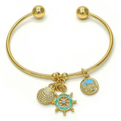 22mm High-Polished 0.25 mils (6 microns) 14k Yellow Gold Plated Round Charm Bracelet, 7.5 inches + Jewelry Cloth & Pouch