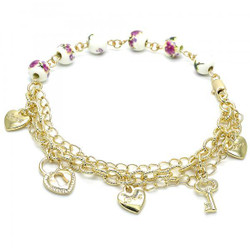 8.5mm Polished 0.25 mils (6 microns) 14k Yellow Gold Plated Ball Military Bead Chain Anklet, 9.5 inches