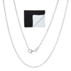 1.7mm High-Polished .925 Sterling Silver Round Rolo Chain Necklace, 7'-30 + Jewelry Box, Cloth, & Bag