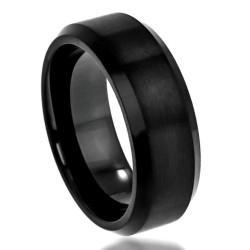 Men's Tungsten Carbide Flat Burshed Center Beveled Edge Band Ring, Size 8,9,10,11,12 + Polishing Cloth