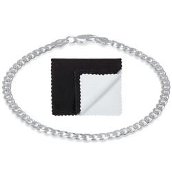 4.4mm Diamond-Cut Silver Flat Cuban Link Curb Chain Necklace, 8'-30 + Jewelry Cloth & Pouch