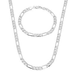 5.5mm 14k Yellow Gold Plated Flat Figaro Chain Necklace + Bracelet Set