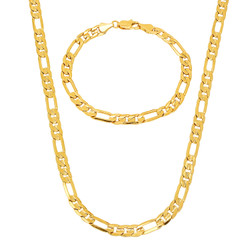 5.5mm 14k Gold Plated Figaro Chain + Bracelet Set, 16'20'24' (Necklace) + 7'8'9' (Bracelet) + Jewelry Cloth & Pouch