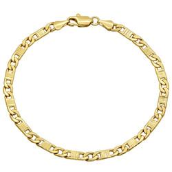 4mm Diamond-Cut 14k Yellow Gold Plated Flat Mariner Mariner Chain Link Bracelet