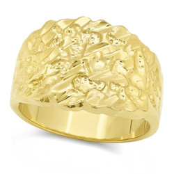 14k Gold Plated Chunky Nugget Pinky Ring, Size 7-15