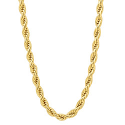4mm Polished 14k Yellow Gold Plated Twisted Rope Chain Necklace + Gift Box