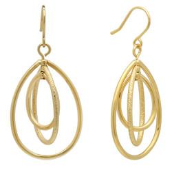 Gold Plated Triple Orbital Teardrop Hoop Earrings + Microfiber
