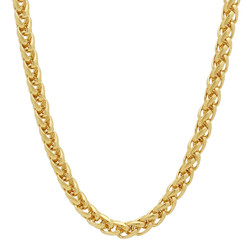 5mm High-Polished 0.25 mils (6 microns) 14k Yellow Gold Plated Round Wheat Chain Necklace, 7 inches