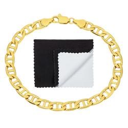 Men's 6mm 14k Yellow Gold Plated Flat Mariner Chain Bracelet