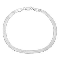 4.5mm Solid .925 Sterling Silver Flat Herringbone Chain Bracelet