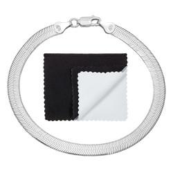 5.3mm Solid .925 Sterling Silver Flat Herringbone Chain Bracelet