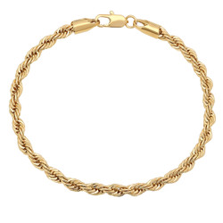 4mm 0.25 mils (6 microns) 24k Yellow Gold Plated Round Rope Chain Bracelet, 7 inches + Jewelry Cloth & Pouch