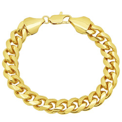 Men's 11mm 0.25 mils (6 microns) 14k Yellow Gold Plated Miami Cuban Link Chain Bracelet, 7'-9 + Jewelry Cloth & Pouch