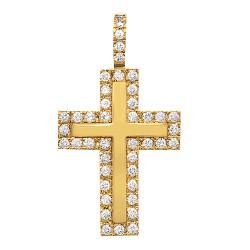 14k Gold Plated 30mm x 42mm CZ Bordered Dimensional Cross Pendant, + Microfiber