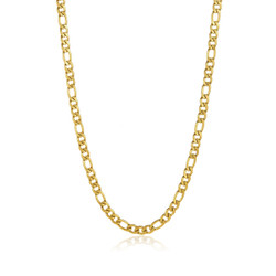 7mm 0.16 mils (4 microns) 24k Yellow Gold Plated Stainless Steel Figaro Chain Necklace, 22'-30 + Jewelry Cloth & Pouch
