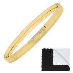 Gold Plated Bangle Bracelet w/Starbursts in Textured Sections + Microfiber Polishing Cloth