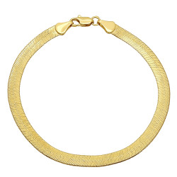 4.5mm 0.25 mils (6 microns) 14k Yellow Gold Plated Herringbone Chain Bracelet, 7'8 + Jewelry Cloth & Pouch