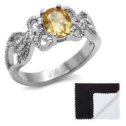 Stainless Steel Champagne Cubic Zirconia Intertwined Band Ring