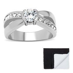 Stainless Steel Crossed Band Cubic Zirconia Eternity Ring