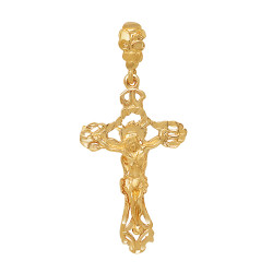 Large 36mm x 6.1 cm 14k Gold Plated Baroque Passion Crucifix Pendant, + Microfiber