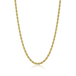 4.9mm 0.16 mils (4 microns) 24k Yellow Gold Plated Stainless Steel Round Rope Chain, 20'-30 + Jewelry Cloth/Box/Bag