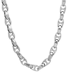 Men's 6mm Chunky High-Polished Tungsten Dark Silver Puffed Puffed Mariner Chain Necklace, 20'-25 + Jewelry Cloth & Pouch