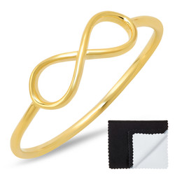 925 Sterling Silver Gold Plated Infinity Knot Promise Ring + Bonus Cleaning Cloth