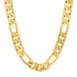 Men's 9.5mm 0.25 mils (6 microns) 14k Yellow Gold Plated Figaro Chain Necklace, 7'-30 + Jewelry Box, Cloth, & Bag