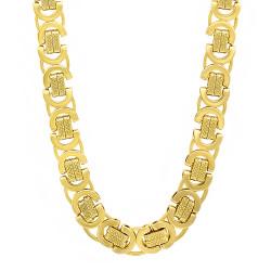 9mm 14k Yellow Gold Plated Flat Byzantine Chain Necklace + Gift Box