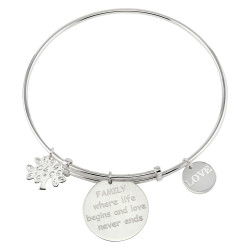 18mm Polished 0.16 mils (4 microns) Rhodium Plated Silver Round Bangle Charm Bracelet, 8 inches + Jewelry Cloth & Pouch
