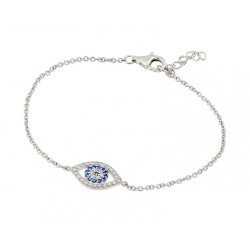 Sterling Silver Rhodium Plated Evil Eye CZ Bracelet 8' Made In Italy + Polishing Cloth