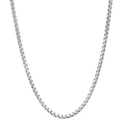 2mm 0.16 mils (4 microns) Rhodium Plated Silver Square Round Box Chain Necklace, 16'-30 + Jewelry Box, Cloth, & Bag