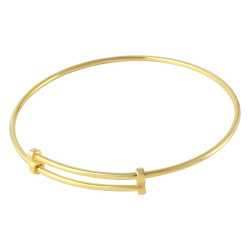 18mm 0.16 mils (4 microns) Gold Plated Silver Round Expandable Bangle Bracelet, 8 inches + Jewelry Cloth & Pouch
