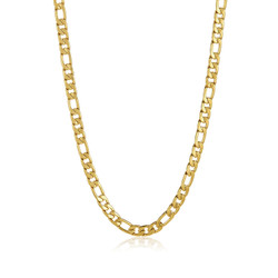 8.4mm 0.16 mils (4 microns) 24k Yellow Gold Stainless Steel Figaro Chain Necklace, 20'-30 + Jewelry Box, Cloth, & Bag